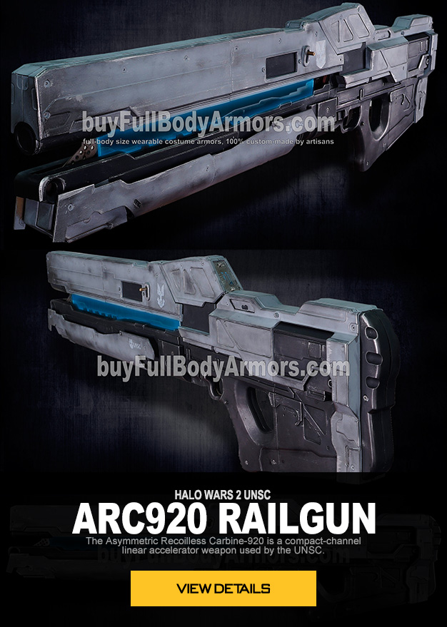 HALO WARS 2 UNSC ARC920 RAILGUN  The Asymmetric Recoilless Carbine-920, abbreviated ARC-920 or  known simply as the railgun, is a compact-channel linear accelerator weapon  used by the United Nations Space Command.