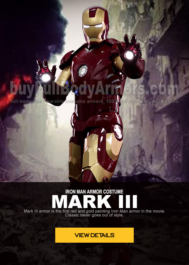 IRON MAN ARMOR COSTUME MARK III armor is the first red-gold painting Iron Man armor in the movie. Classic never goes out of style.