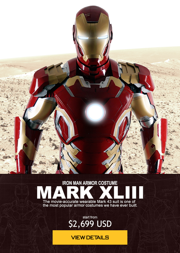 IRON MAN ARMOR COSTUME MARK XLIII The movie-accurate wearable Mark 43 suit is one of the most popular armor costumes we have ever built. start from $2,699 USD order now
