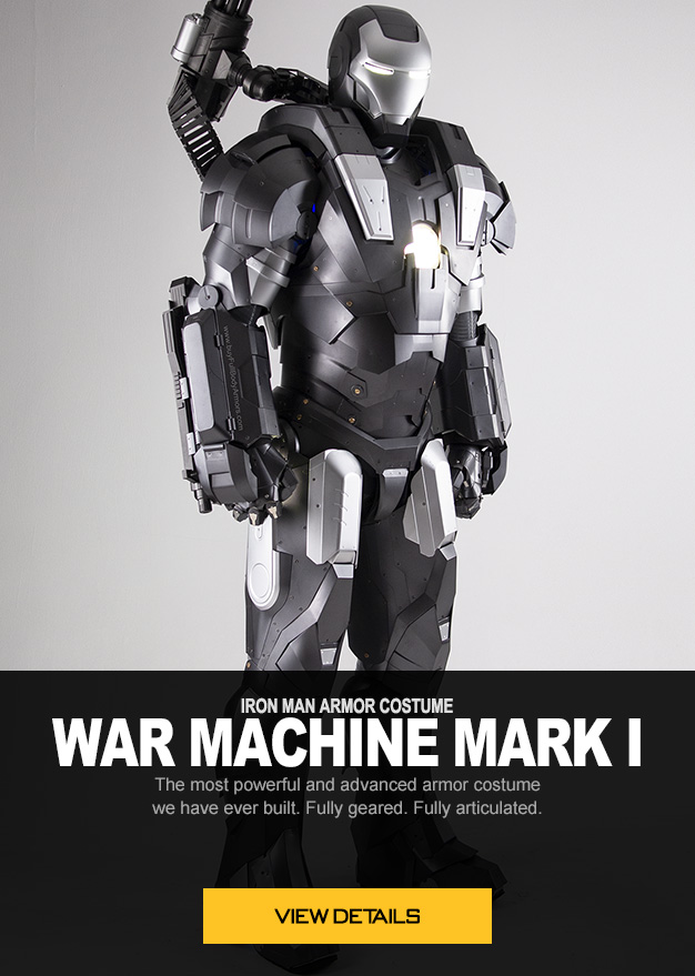 IRON MAN ARMOR COSTUME War Machine Mark I 1 The most powerful and advanced armor costume we have ever built. Fully geared. Fully articulated.
