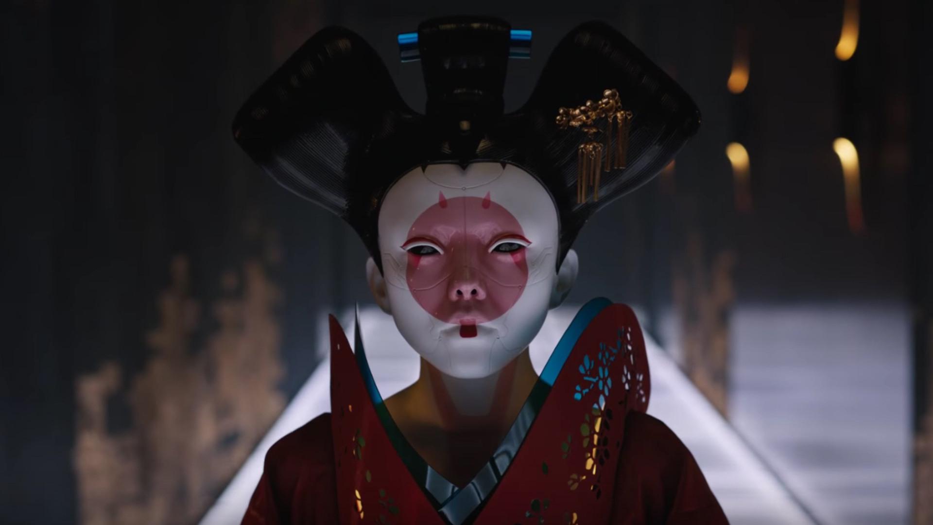 Ghost in der Shell-Film 2017 echter Geisha Deluxe anzug faschingskostüme kaufen Kopf vollbody kimono
