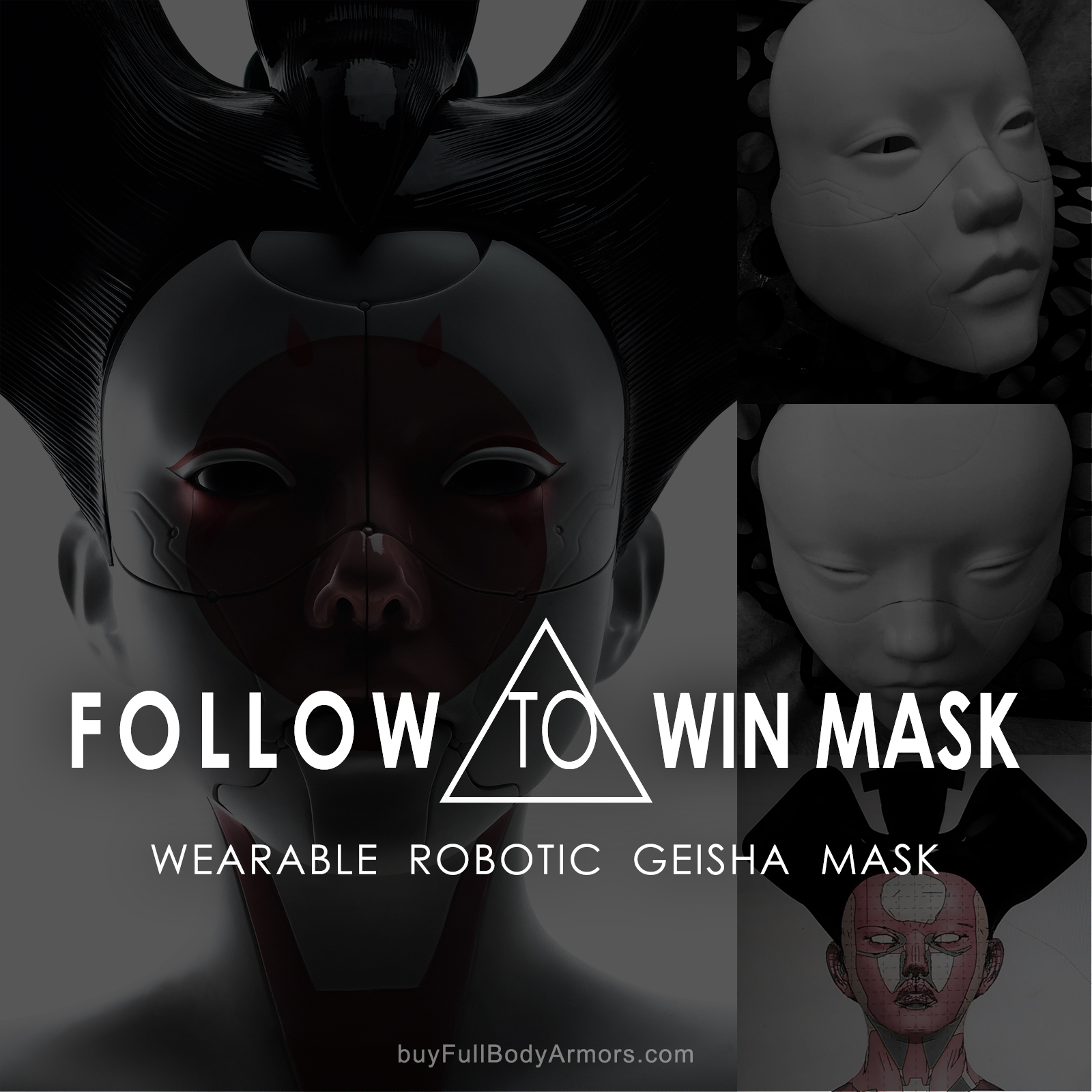 Follow our Instagram to win gift! - Wearable Robotic Geisha Mask (Ghost in the Shell 2017 Movie)