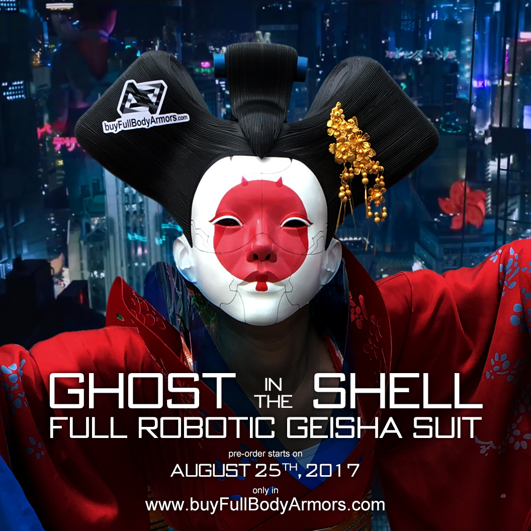 Pre-order the Wearable Robotic Geisha Full Cosplay Costume inspired from the Movie Ghost in the Shell 2017