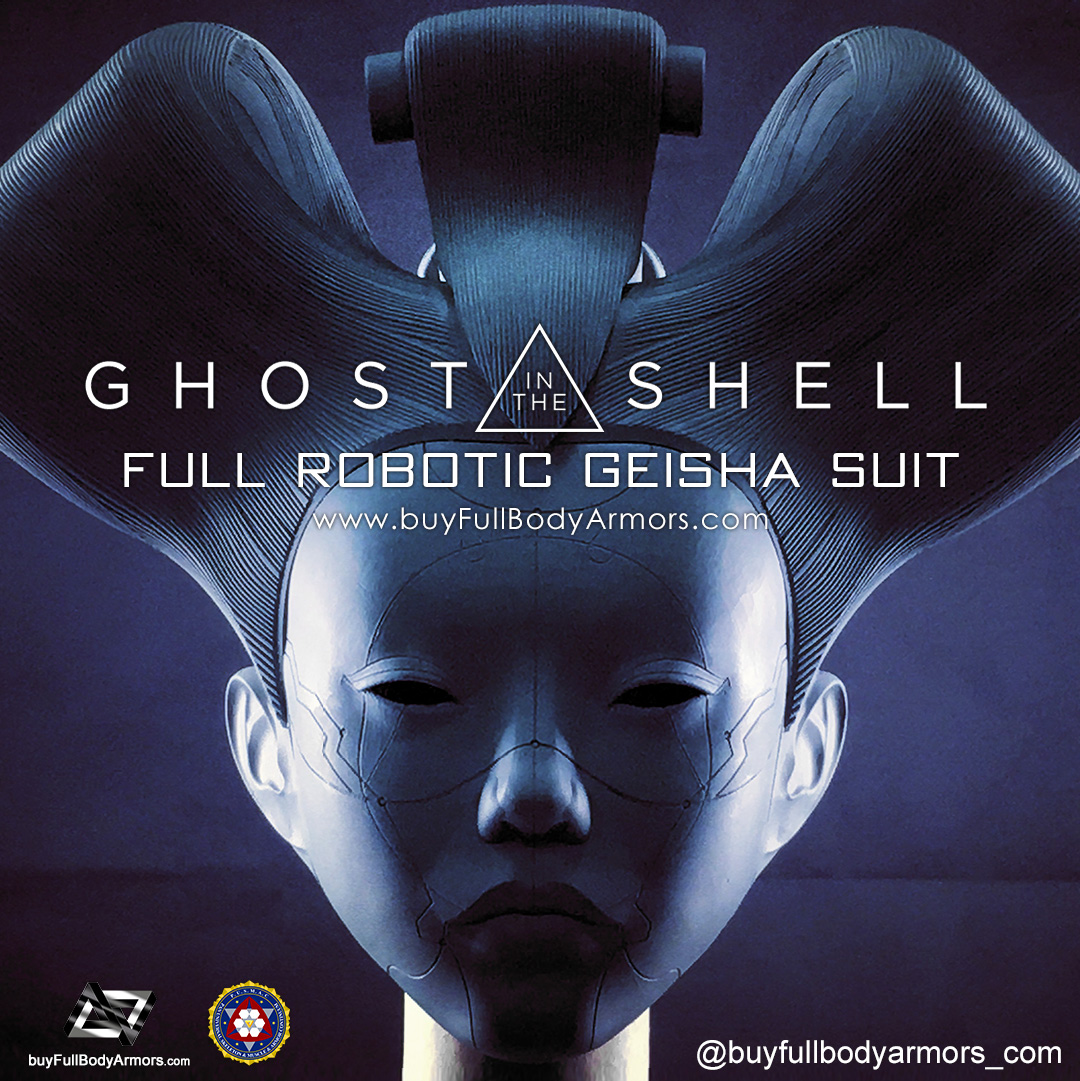 The Wearable Robotic Geisha Helmet from the Movie Ghost in the Shell 2017 Unpainted Prototype 1