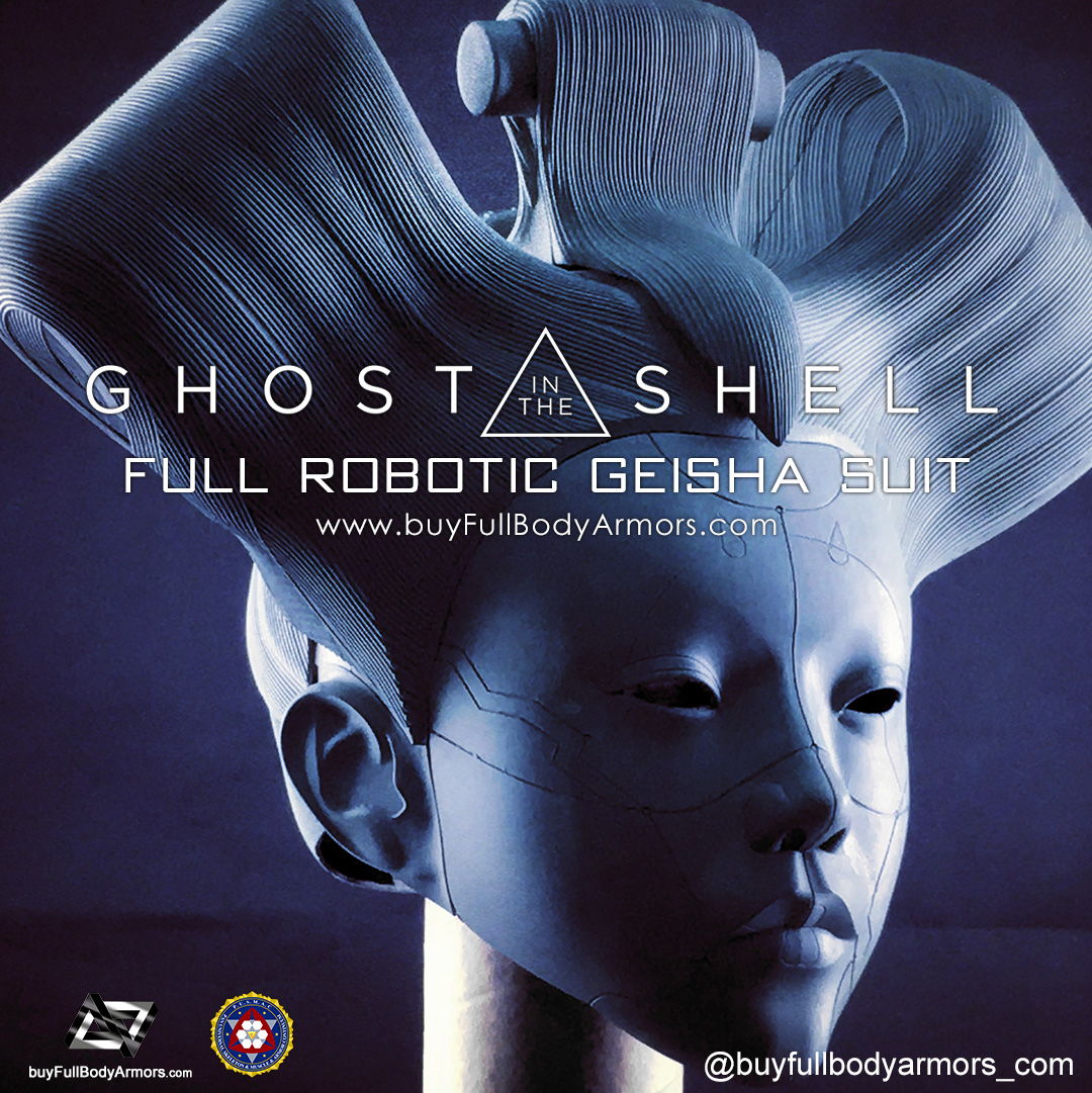 The Wearable Robotic Geisha Helmet from the Movie Ghost in the Shell 2017 Unpainted Prototype 2