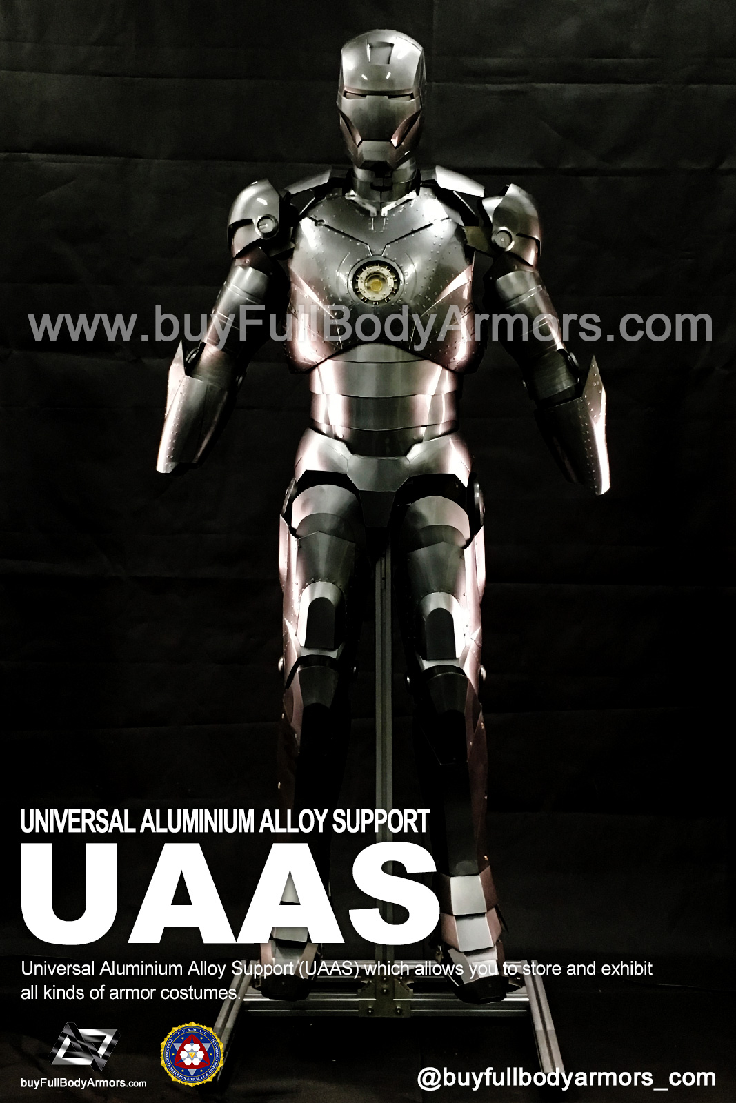 Put a Iron Man Mark II 2 Armor Costume on to a Universal Aluminium Alloy Support (UAAS) 5