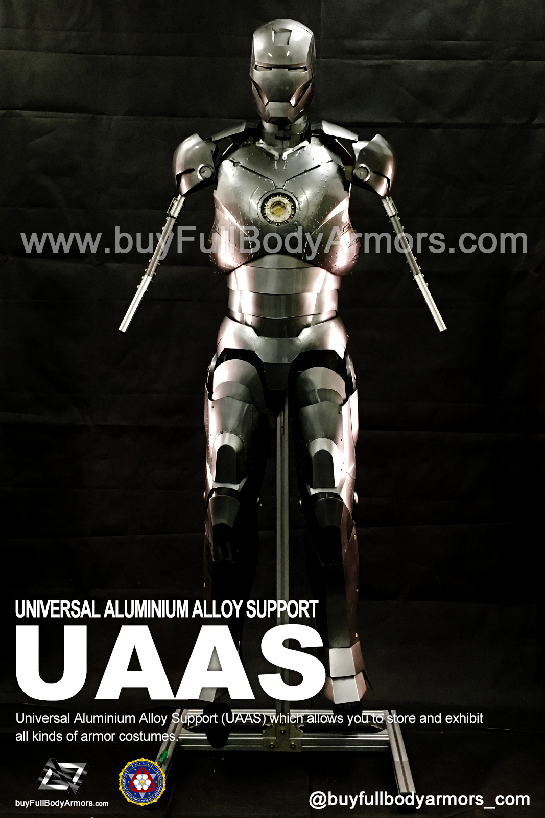 Put a Iron Man Mark II 2 Armor Costume on to a Universal Aluminium Alloy Support (UAAS) 4