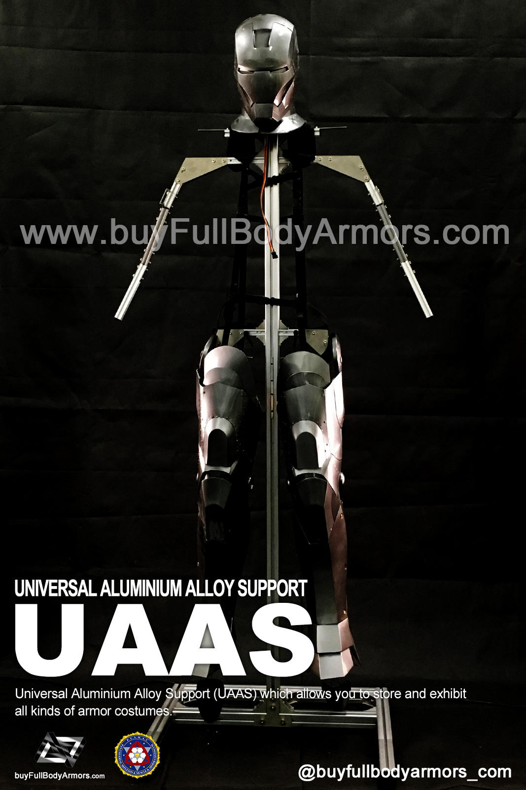 Put a Iron Man Mark II 2 Armor Costume on to a Universal Aluminium Alloy Support (UAAS) 3