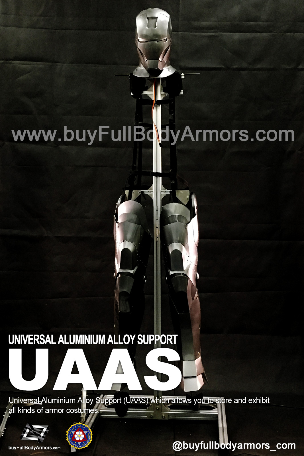 Put a Iron Man Mark II 2 Armor Costume on to a Universal Aluminium Alloy Support (UAAS) 2