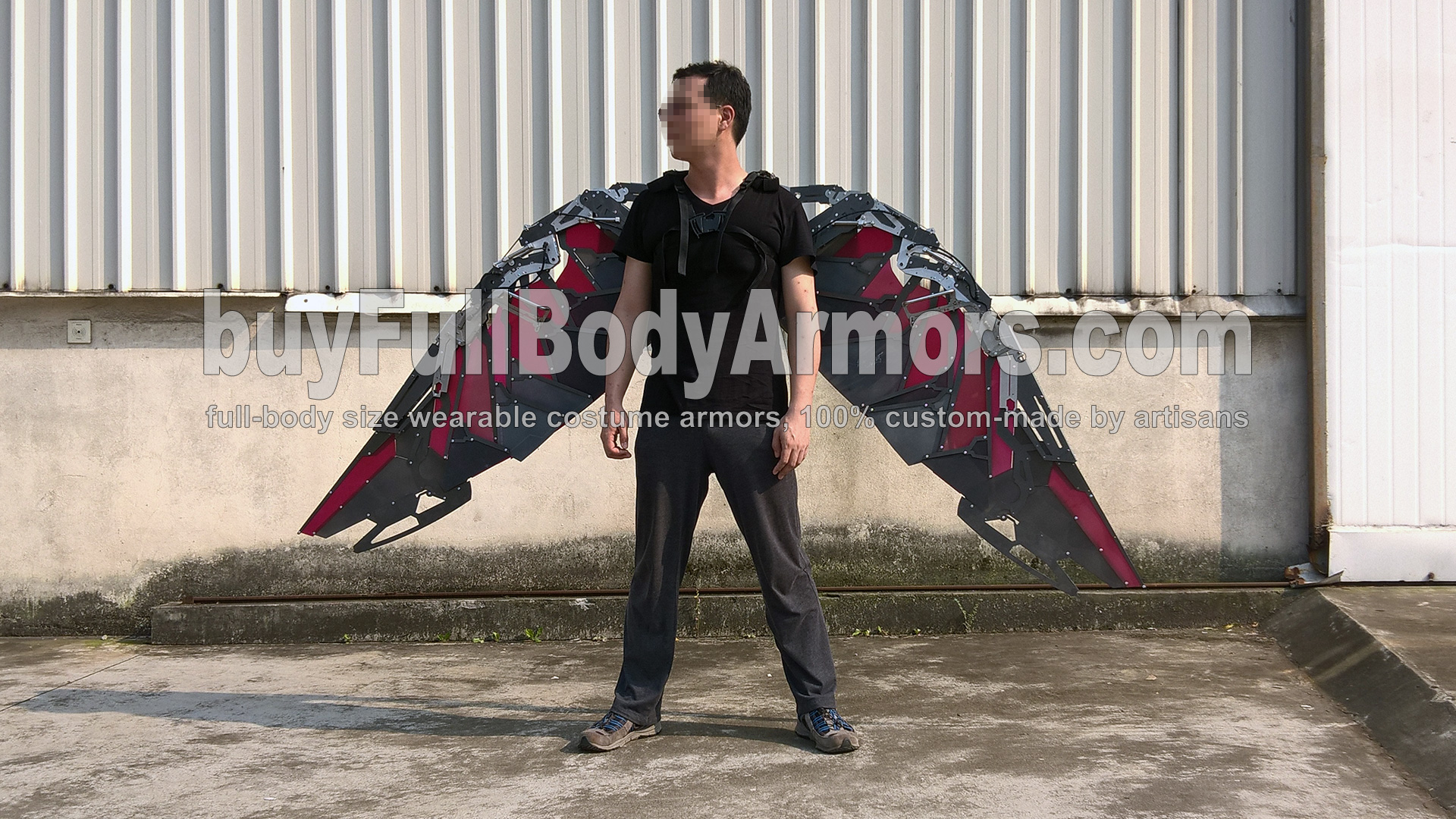 The Avengers 2 Wearable Falcon Suit Prototype - Wings Expanded and Retracted