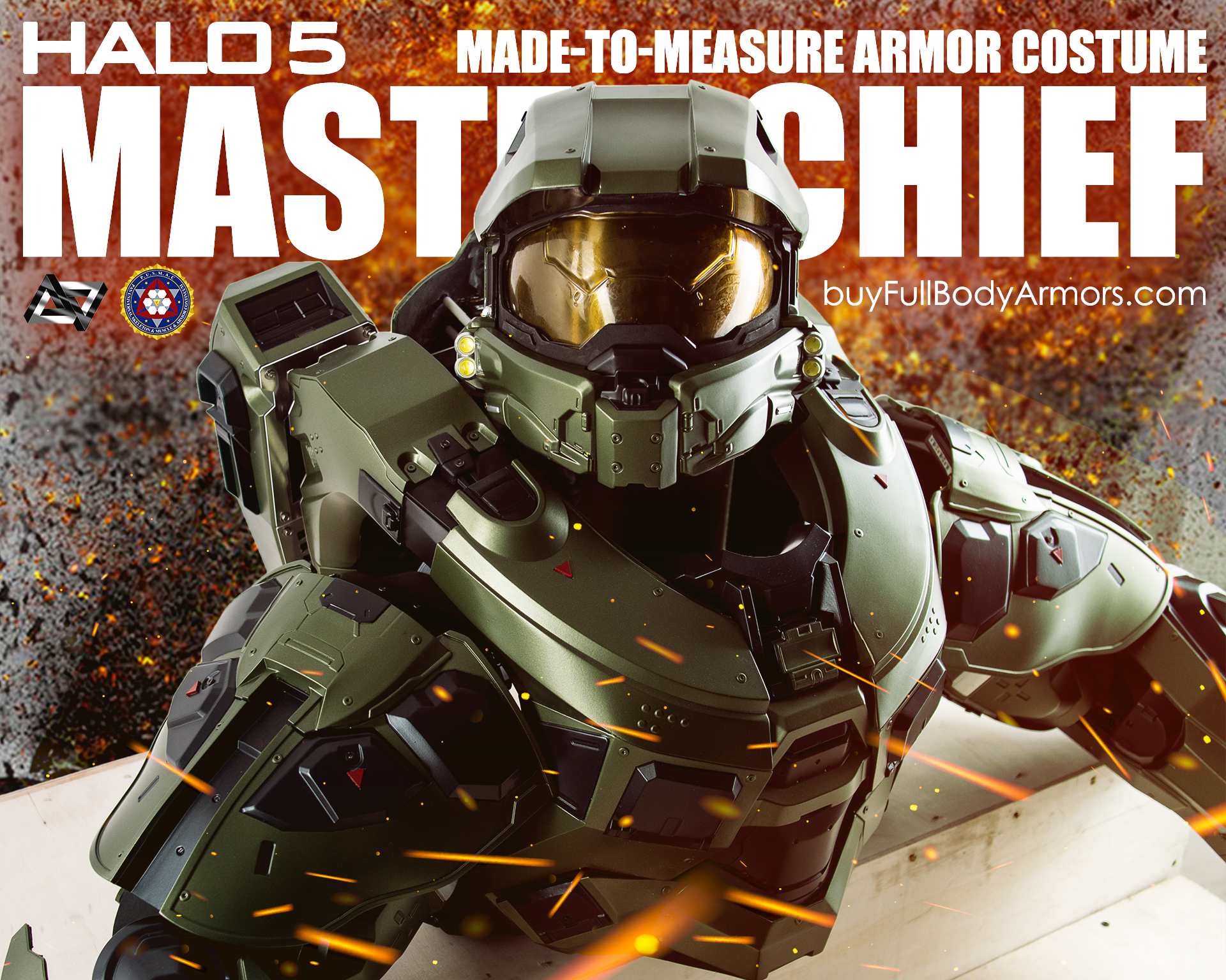 Halo 5 Master Chief Armor Suit Costume on crate 1