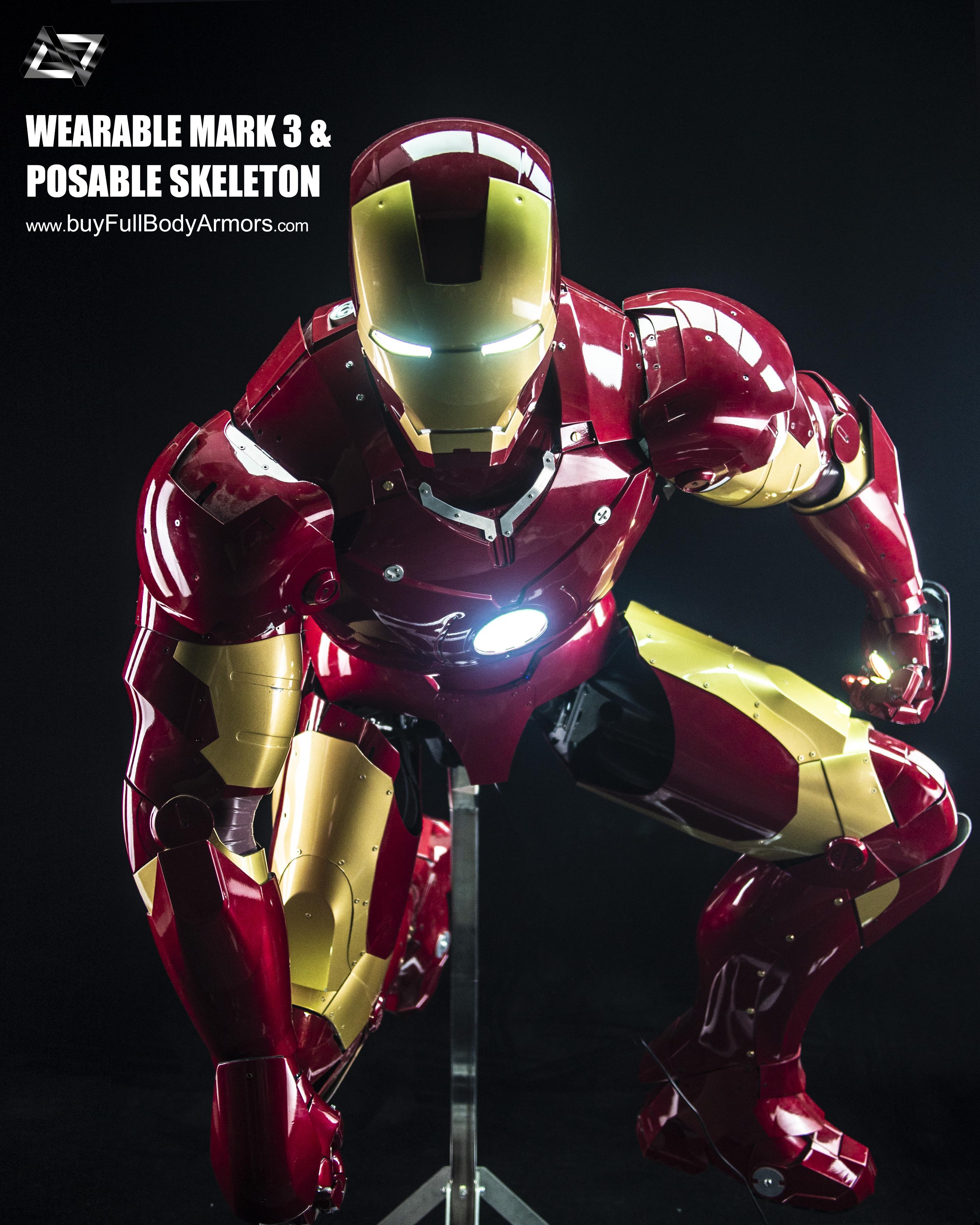 Iron Man Mark 3 III Armor Costume Suit Posable Skeleton Stand 1