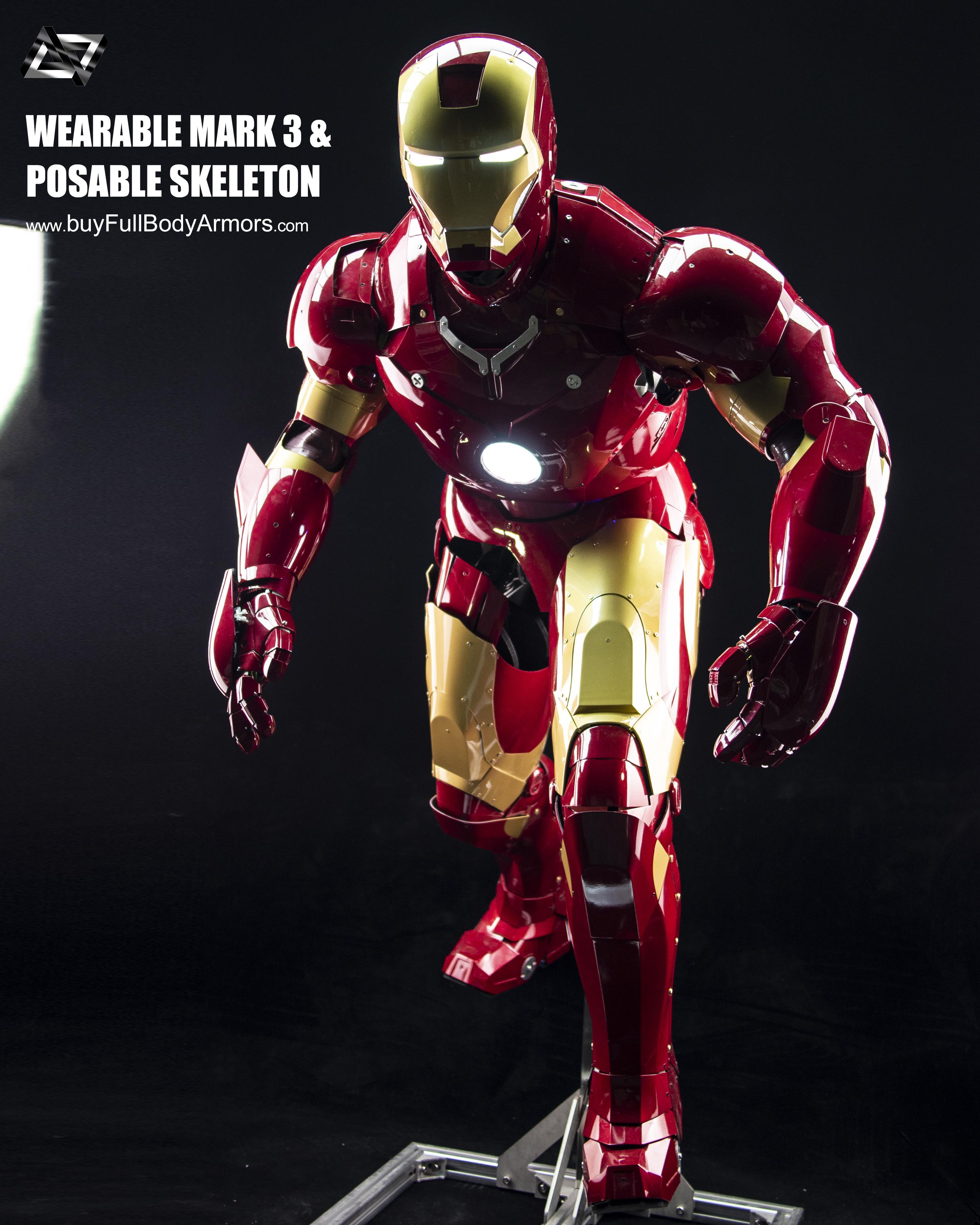 Iron Man Mark 3 III Armor Costume Suit Posable Skeleton Stand 2