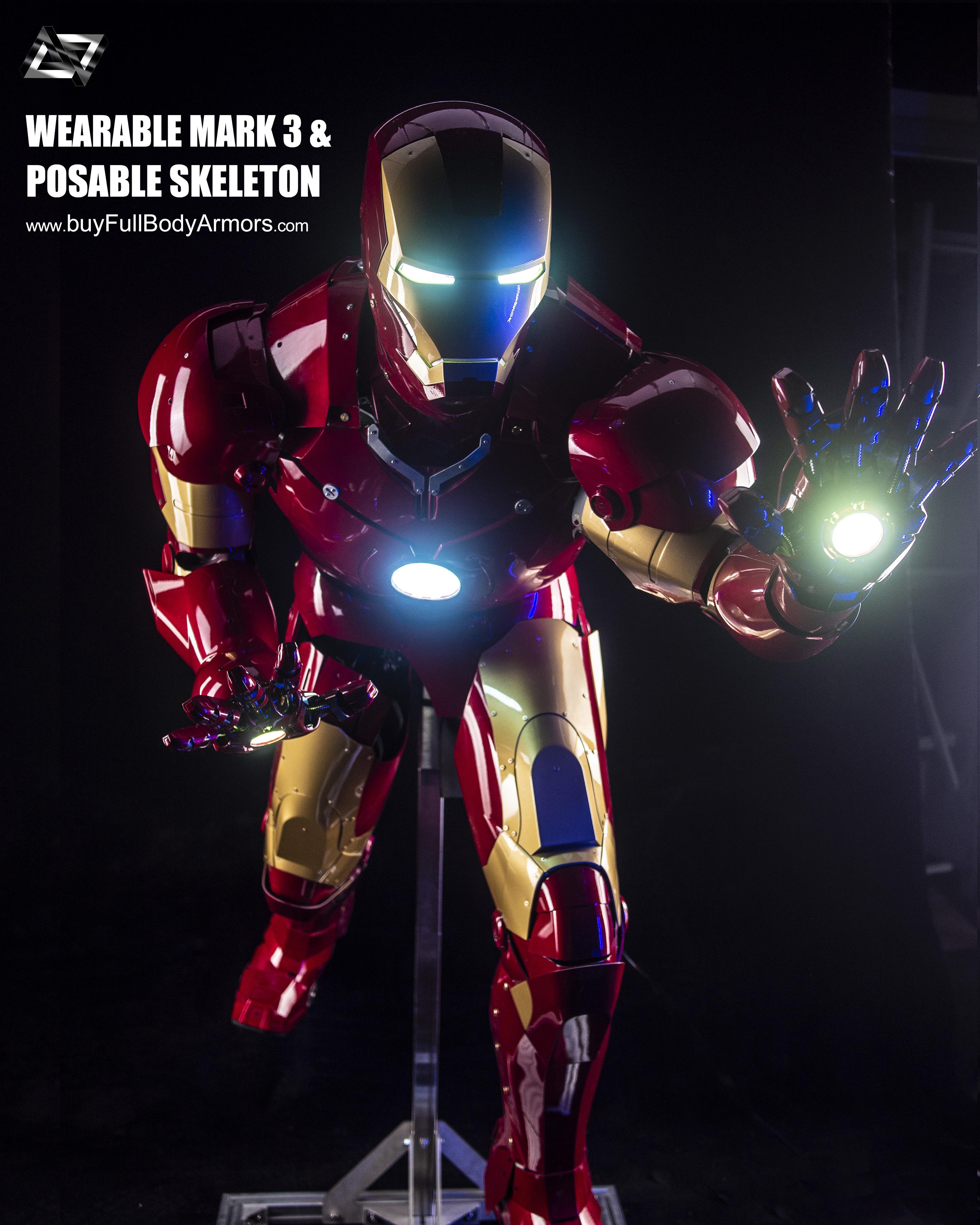 Iron Man Mark 3 III Armor Costume Suit Posable Skeleton Stand 4