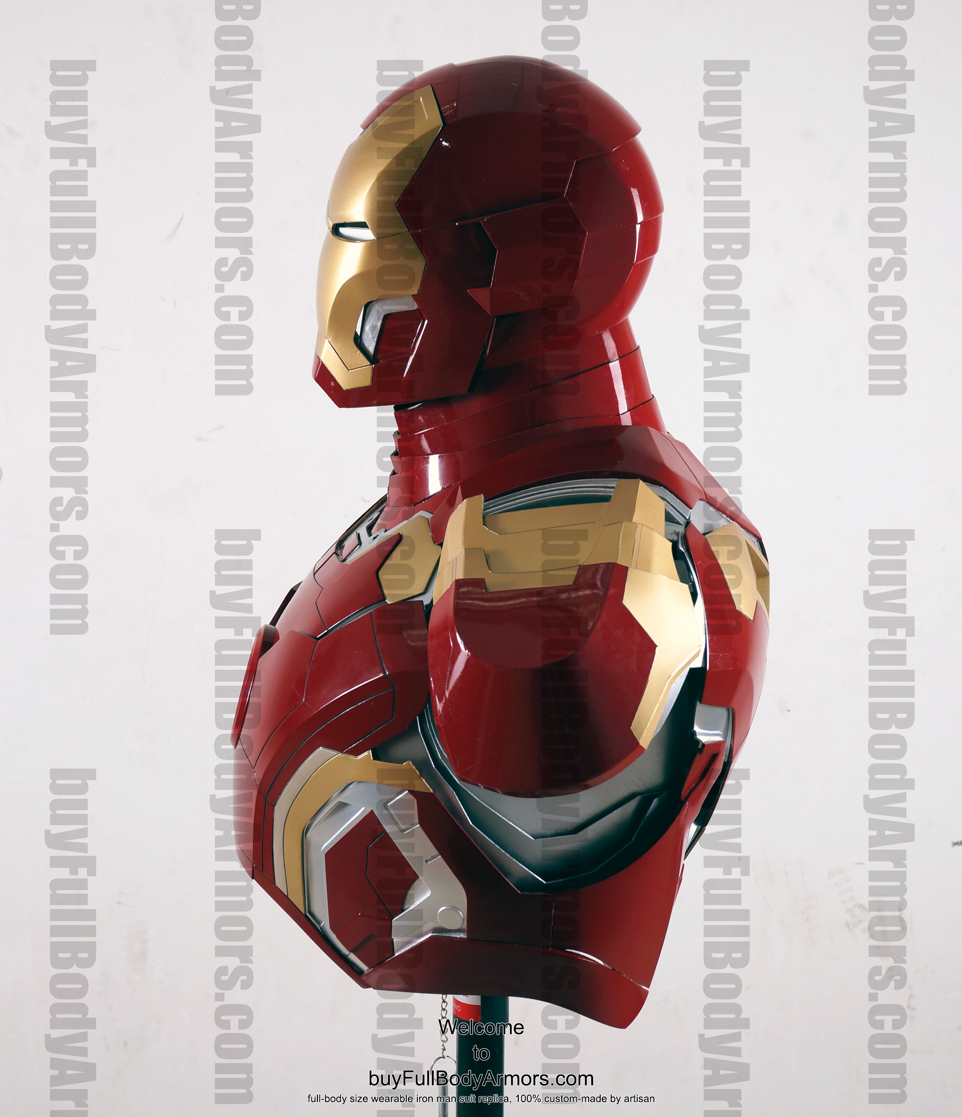 the wearable Iron Man Mark 43 (XLIII) suit costume bust side 2