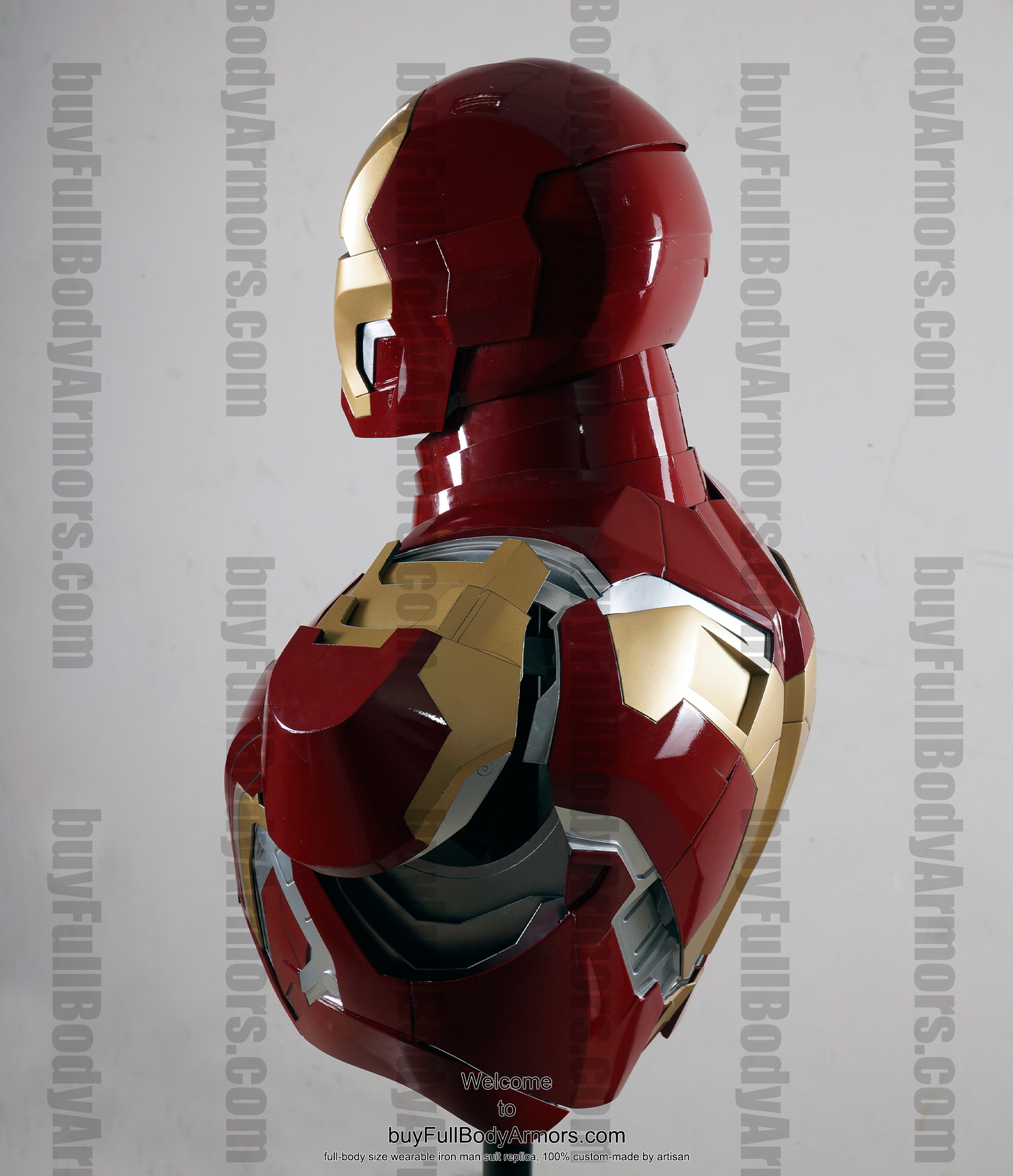 the wearable Iron Man Mark 43 (XLIII) suit costume bust side