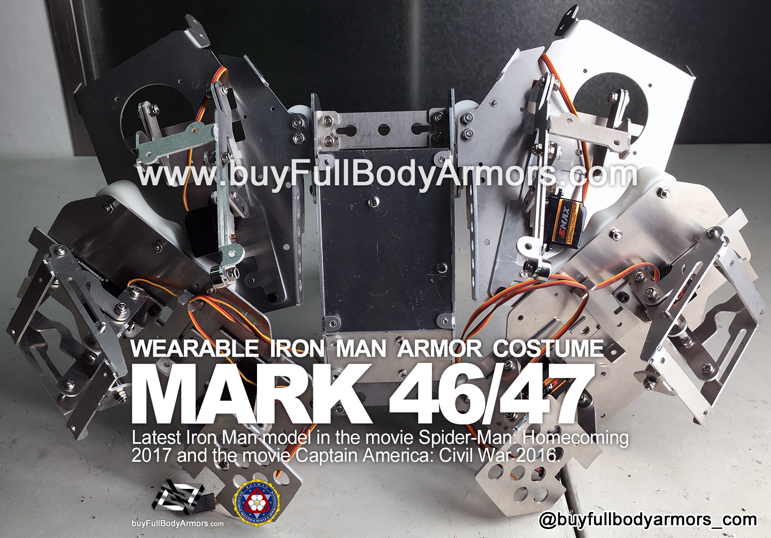 The Motorized Open-Close Mechanical Structure of the Back Armor - the Wearable Iron Man Mark 47 / 46 Armor Costume Suit prototype 2