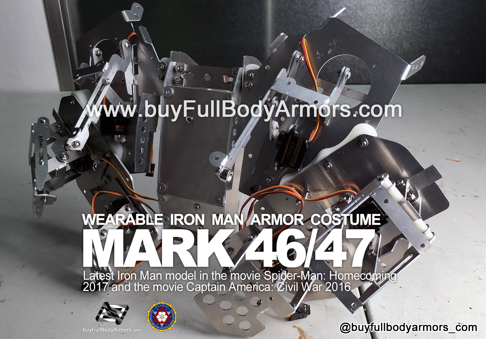 The Motorized Open-Close Mechanical Structure of the Back Armor - the Wearable Iron Man Mark 47 / 46 Armor Costume Suit prototype 3