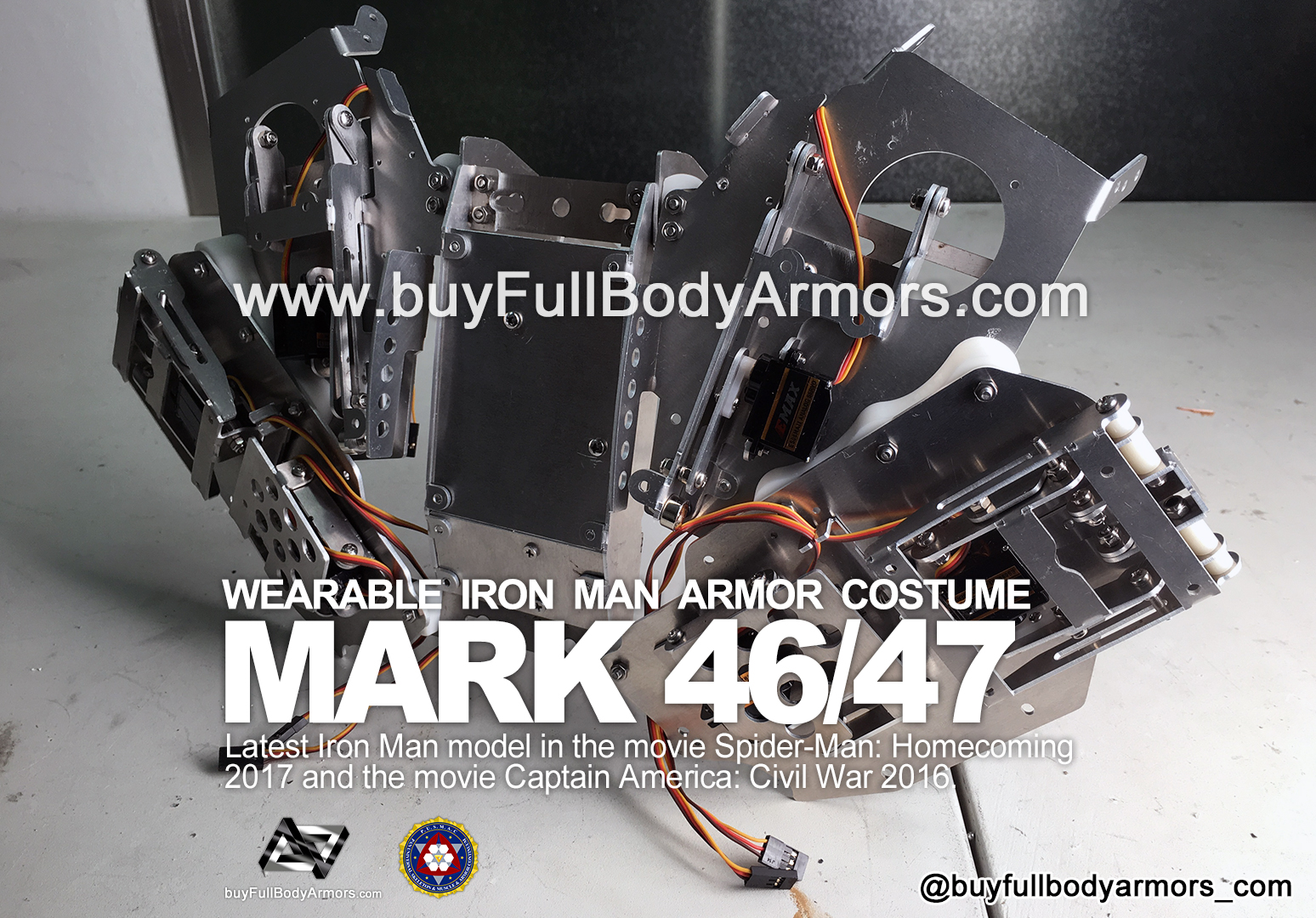 The Motorized Open-Close Mechanical Structure of the Back Armor - the Wearable Iron Man Mark 47 / 46 Armor Costume Suit prototype 4