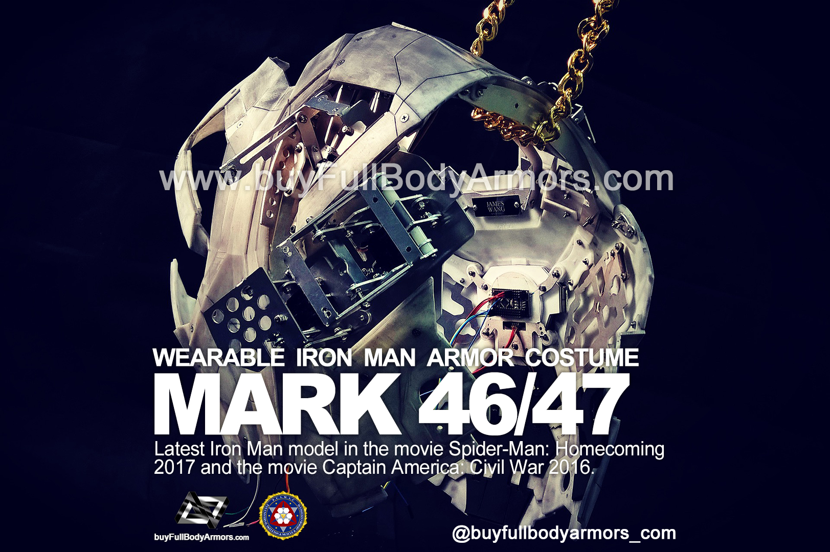 The Motorized Open-Close Mechanical Structure of the Chest Armor - the Wearable Iron Man Mark 47 / 46 Armor Costume Suit prototype