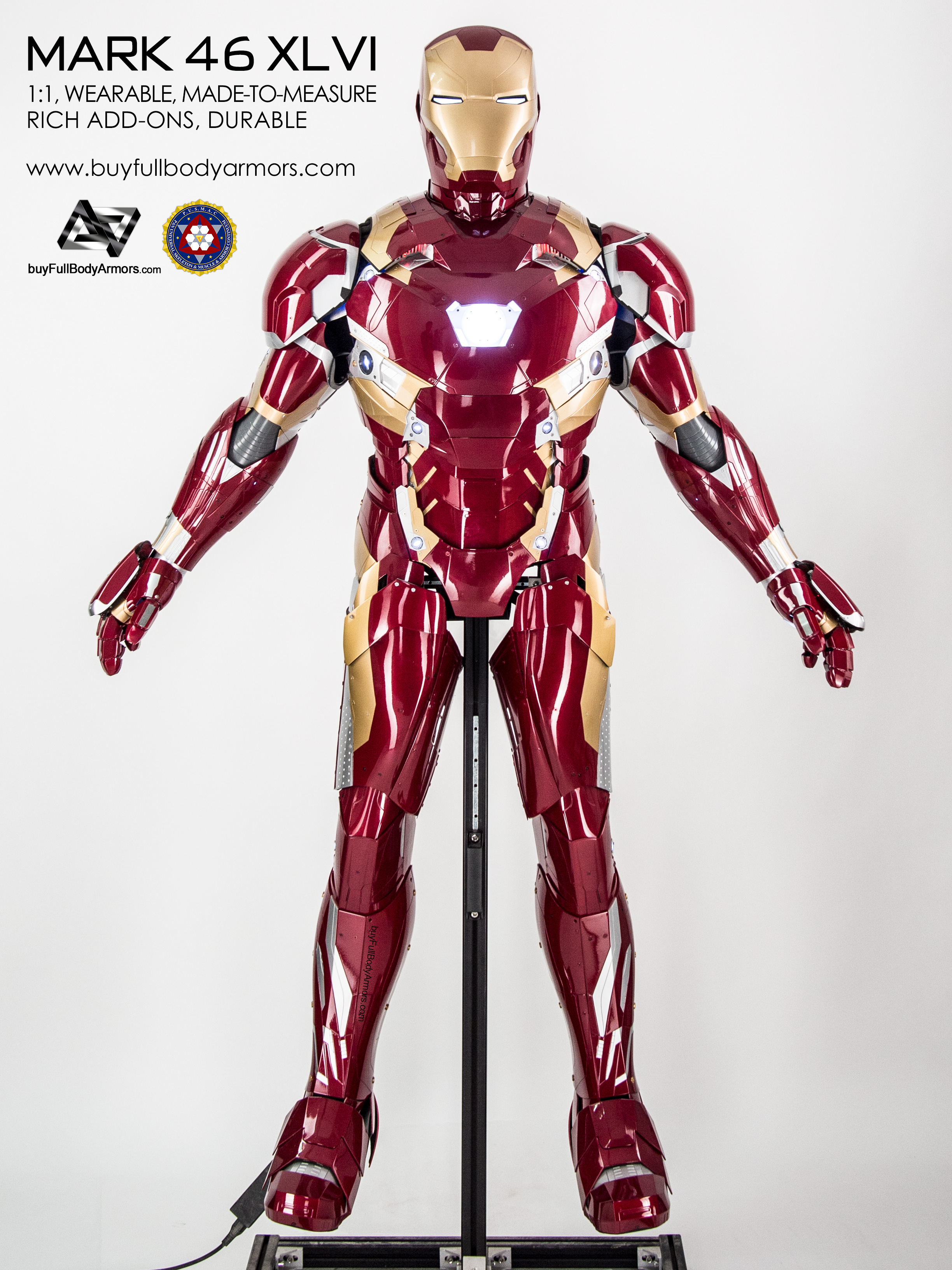 Photos of the Iron Man Mark 46 XLVI Wearable Armor Costume Suit front