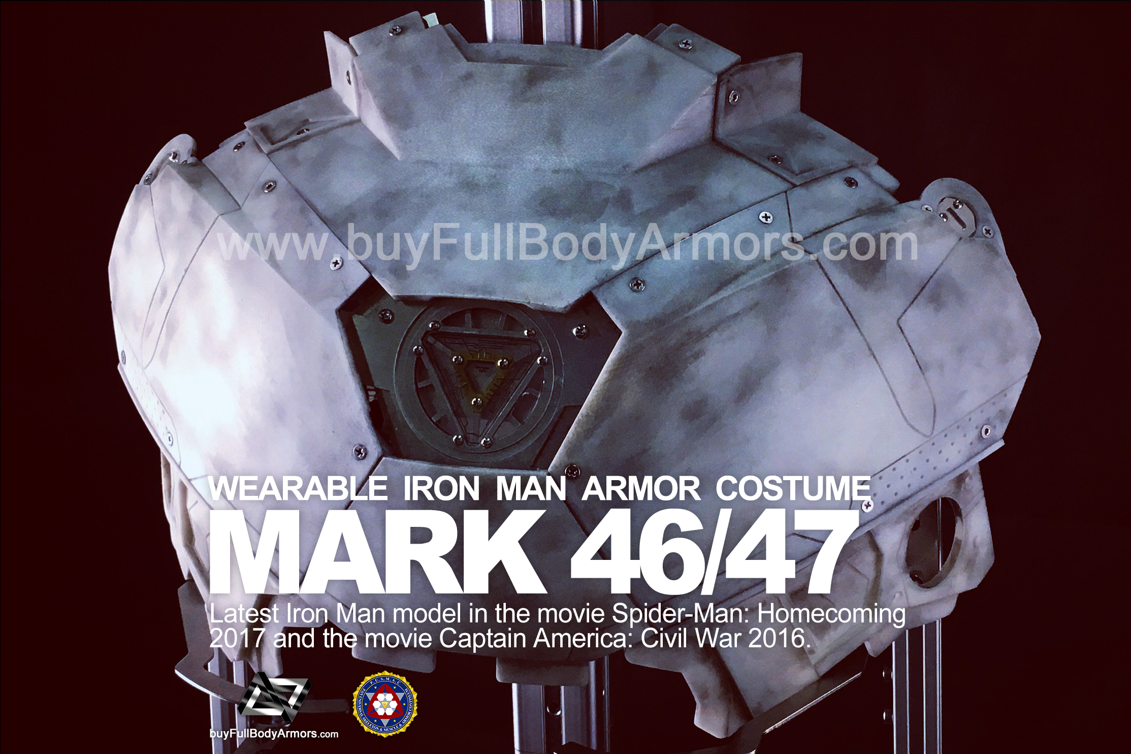 Wearable Iron Man Mark 47 / 46 Armor Costume Suit Chest Armor Prototype 1