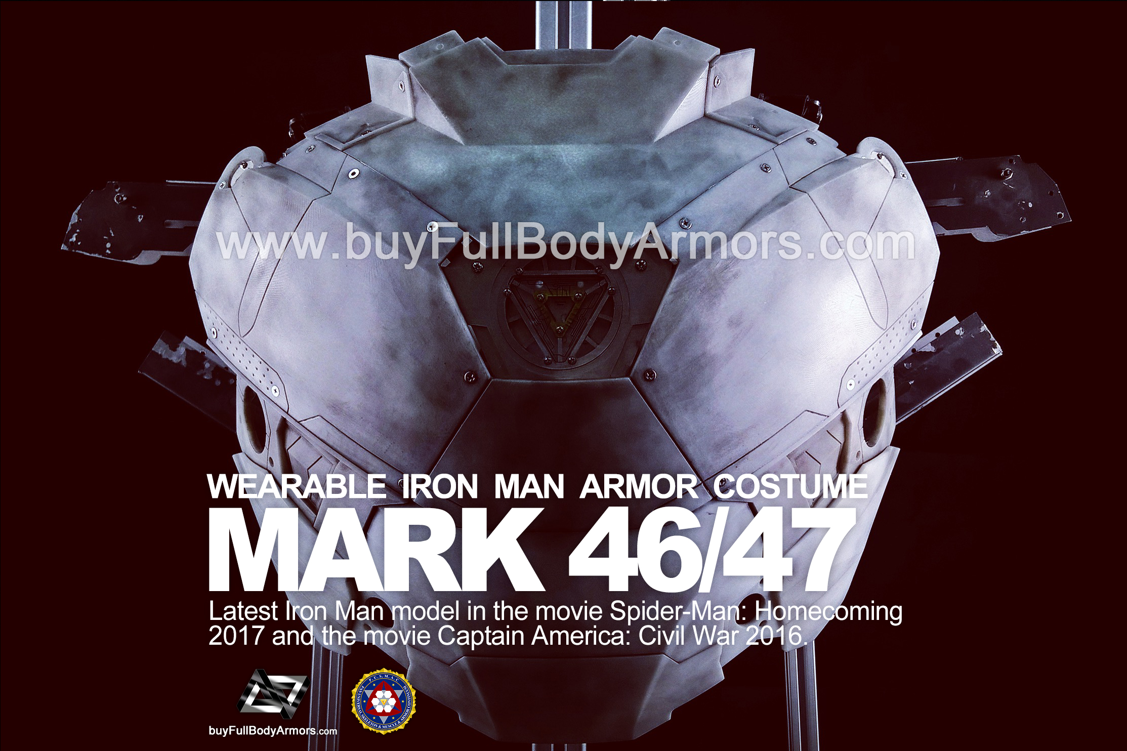 Wearable Iron Man Mark 47 / 46 Armor Costume Suit Chest Armor Prototype 2