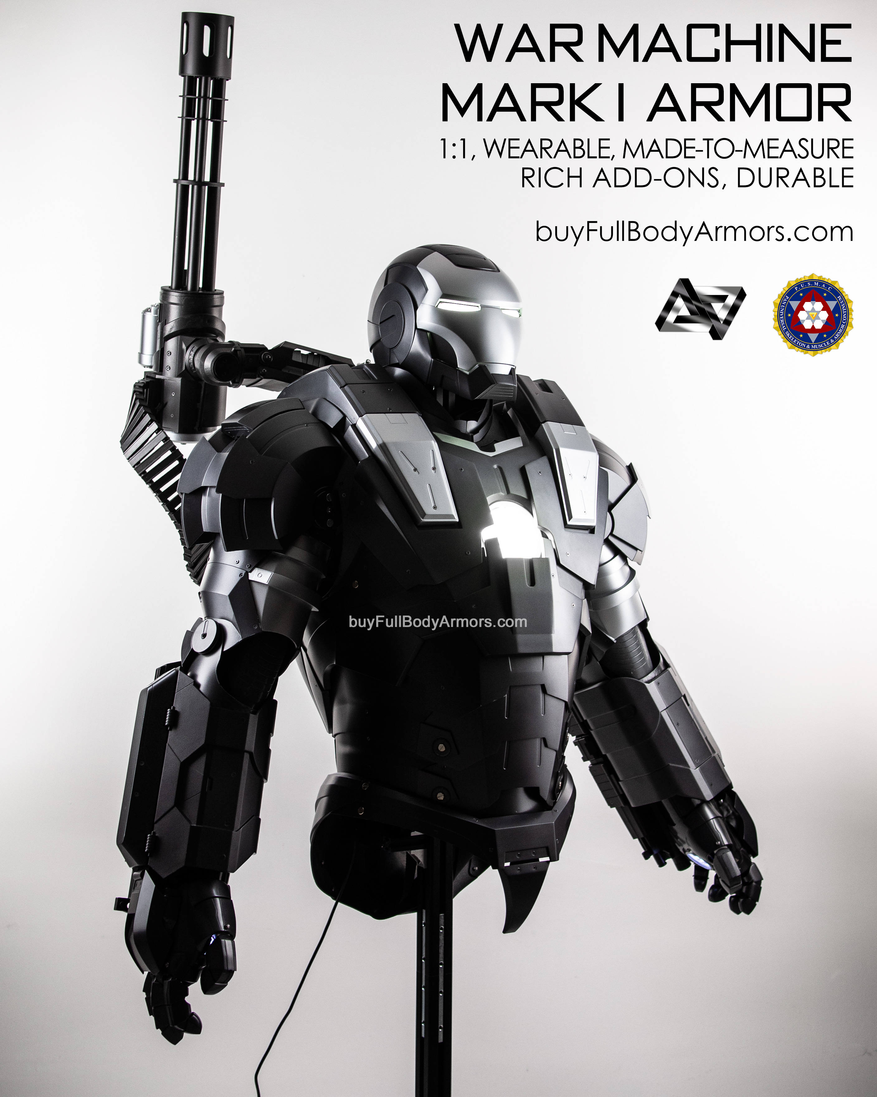 wearable War Machine suit Mark I 1 armor costume waist