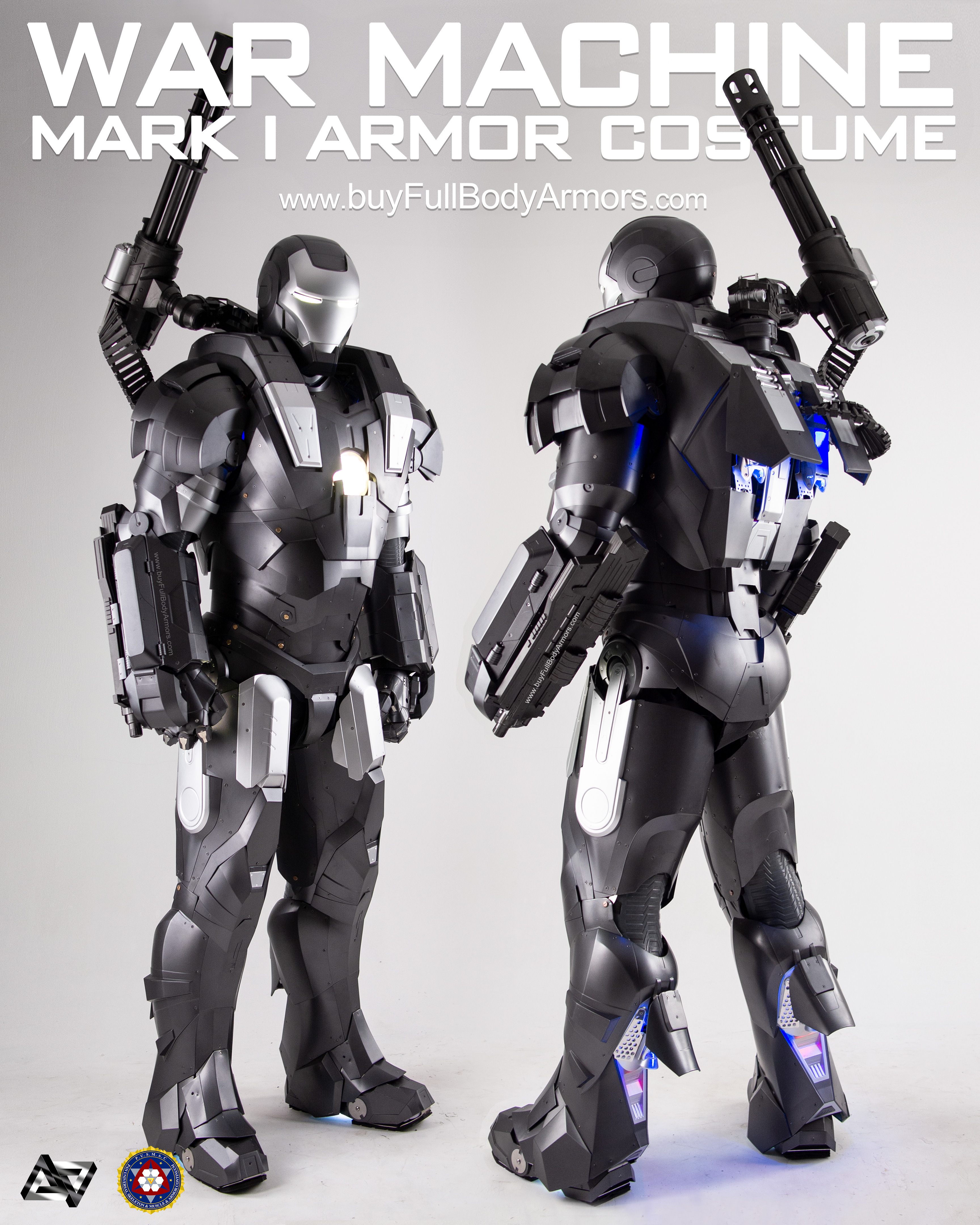 wearable War Machine suit Mark I 1 armor costume front and back