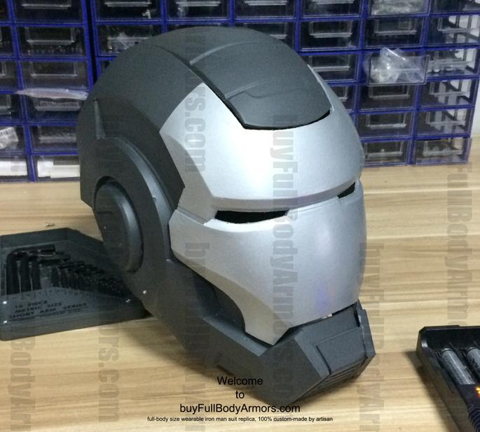 prototype of the fiberglass wearable war machine helmet angle view