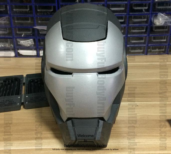 prototype of the fiberglass wearable war machine helmet front view