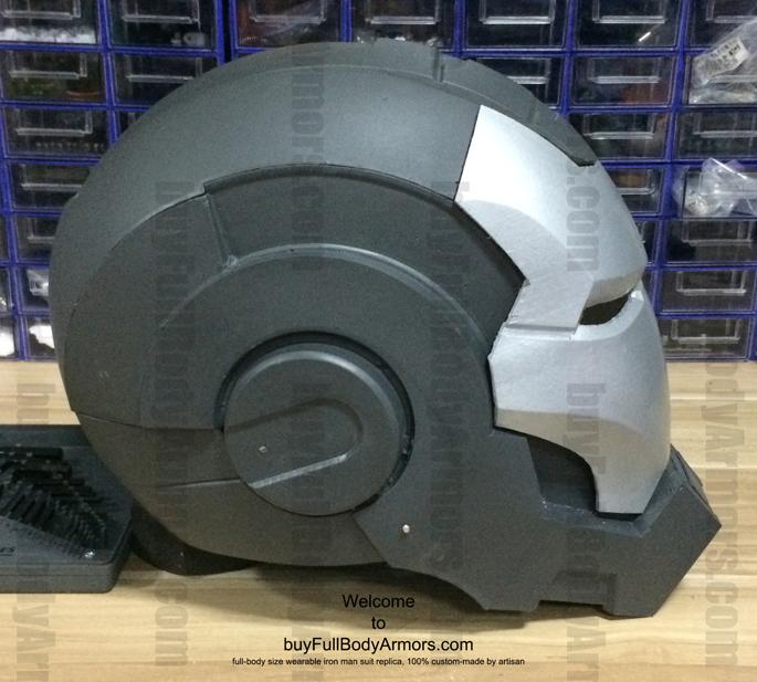 prototype of the fiberglass wearable war machine helmet top view